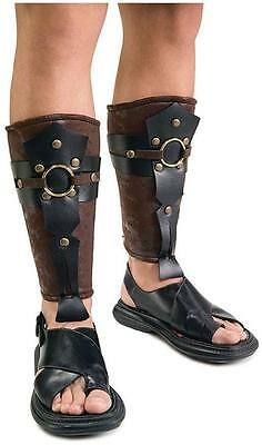 Mens Roman Leg Guards Armour Viking Biblical Costume Accessory Adult One Size