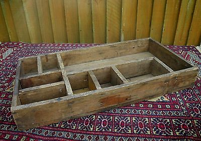 Antique Rustic Primitive Heavy Pine Compartmental Tray~Hanging Display Shelf