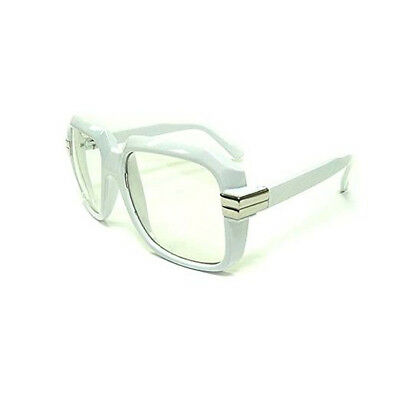 Oversized White Hip Hop Glasses Rapper Run DMC Gazelle Rap Cazal 80's Metal