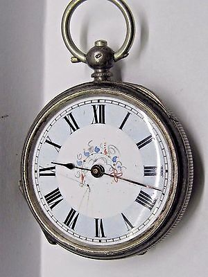 Antique 1800's No Name Silver 800, 2-Key wind Pocket Watch, 37 mm in size.