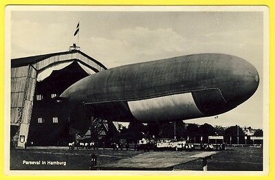 "cpa ALLEMAGNE Aviation Le BALLON DIRIGEABLE ""PARSEVAL"" in HAMBURG Aérostat RARE"