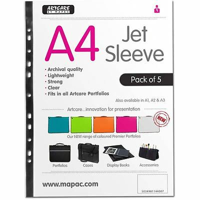 Mapac Jet Sleeve Pack A4 5 Pack For Portfolio Cases Folders Display Book Storage
