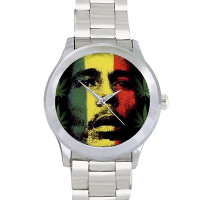 Bob Marley Watch Cannabis Watch Plant Jamaica Watch Stainless Steel Wrist Watch