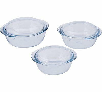 Pyrex3Piece Clear Glass Casserole Set Perfect For Family Cooking They're Great
