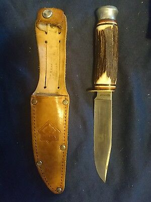 1950s PUMA (Western Germany) Stag Handle Solingen Steel Hunting Knife w/ Sheath