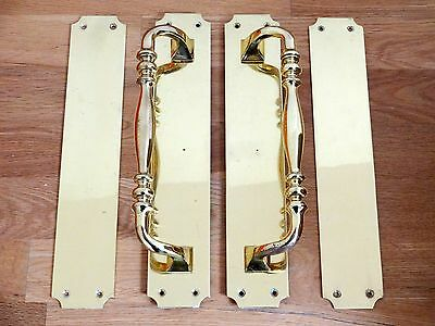 "Large Pair Of 12"" Cast Brass Pull Handles + Finger Door Push Plates Knobs"
