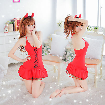 Women Sexy/Sissy Lingerie Babydoll..G-String Lace Thong Underwear Nightwear Red