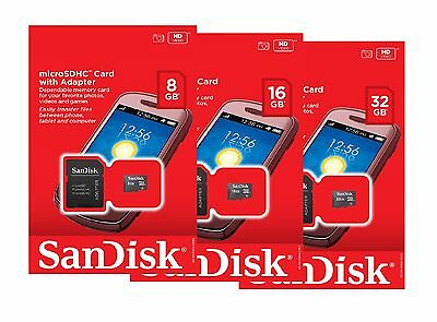 SanDisk 8GB 16GB 32GB Micro SD SDHC Class 4 TF Flash Memory Card Adapter Lot