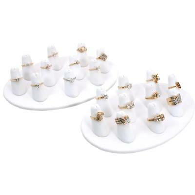 2-10 White Leather Finger Ring Display Jewelry Showcase