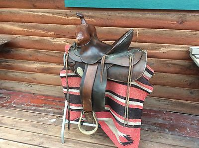 Antique High Back Western Saddle with Ox-Bow Stirrups