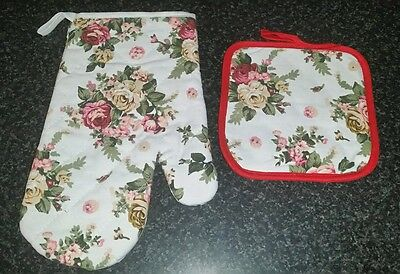 Cotton Thick Kitchen Cooking Glove Oven Mitt + Pot Holder Mat Pad
