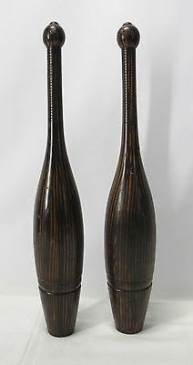 Antique 19th C Painted Wood Grain Indian Exercise Clubs Folk Art Spalding NR yqz