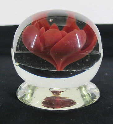"""Antique 19th c NJ """"Millville Rose"""" Red Footed Art Glass Paperweight Barber 4 yqz"""