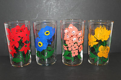 """4 Vintage 5"""" Libbey Flowers Beverage Drinking Glasses; Blue, Red, Pink, Yellow"""