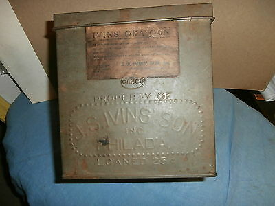 Antique Tin Store Counter Cookie Canco Sales Box J S Ivans Son Philada  Loaned