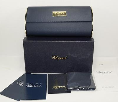 NEW AUTH CHOPARD BLUE HARD LARGE SUNGLASSES EYEGLASSES CASE w/BOX,CLEANING CLOTH