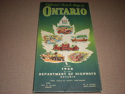 Vintage Antique 1956 Official Road Map of Ontario, Canada, Dept. of Highways