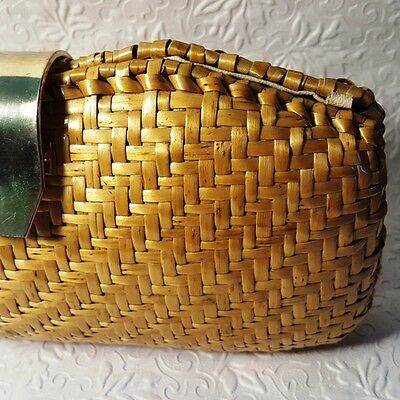 Vintage 1960s RODO Woven Natural Straw Clutch/Bag/Purse Leather-Lined Made Italy