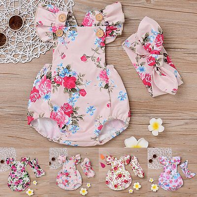Toddler Newborn Baby Girls Romper Jumpsuit Bodysuit Headband Sunsuit Outfits Set