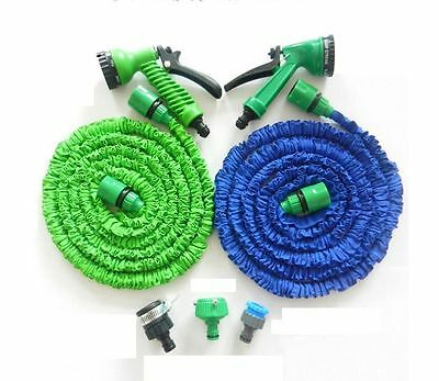Latex Deluxe 25 50 100 200 FT Expanding Flexible Garden Water Hose +Spray Nozzle