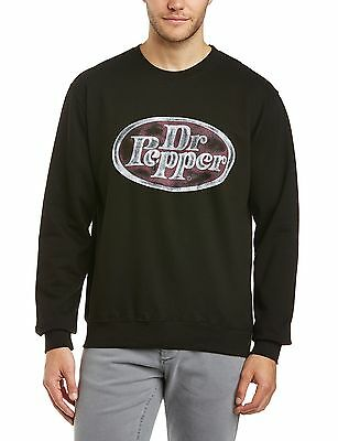 (TG. Medium) Dr. Pepper - Felpa con scollo tondo, Uomo, Nero (Black), M (U9N)