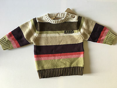 BNWT Timberland Striped Jumper Top Size 6 months Buttons On Shoulder Sweater