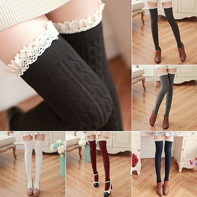 Ladies Women Girls Over The Knee Lace Cotton Thigh High Stretch Socks