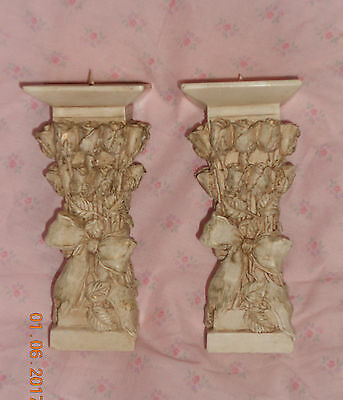 """Vintage Romantic Engraved ROSES Wrapped Column Shabby Candle Holder Set 7"""""""