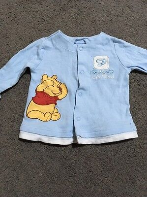 Baby Boys Winnie The Pooh Long Sleeve Snap Stud Top Size 00 GUC