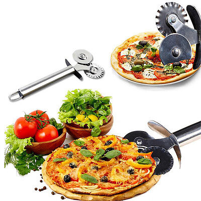 Kitchen Crimper Slicer Wheel Pizza Roller Cutter Double Head Dough Lace Hob