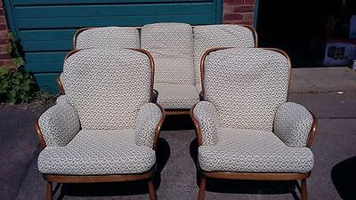 Beautiful  Blonde Ercol3  Seater Sofa  /studio Couch And 2 Matching Chairs