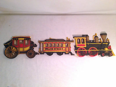 Lot of 3 Vintage Homco Wall Plaque Home Decor 1975 Train Trolley Stage Coach USA