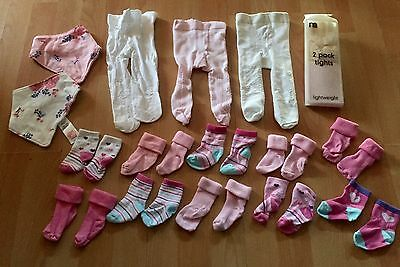 0-3 Months Baby Girls Clothes Tights Socks Bundle Dribble Bibs - Mothercare! Fab