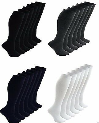 6 Pairs Ladies Girls Boys Kids Knee High Long Plain Uniform Cotton rich Socks Si