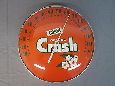 Vintage Original Orange Crush Glass Face Thermometer Sign In Nice Condition