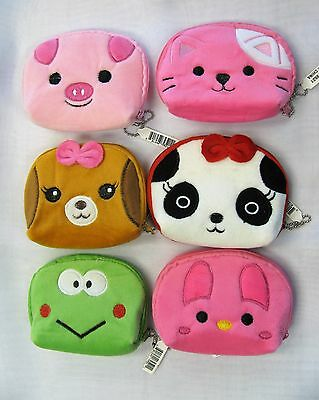 Wholesale Lot 12 PCS Soft Plush Animal Coin Purses Cat Dog Bunny Frog Pig Panda