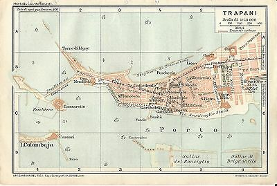 Carta geografica antica TRAPANI Pianta città Sicilia TCI 1919 Old antique map