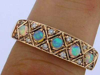 R275 Genuine 9K Rose Gold SOLID Natural OPAL Diamond Eternity 5stone Ring size P