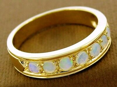 R077- Lovely 9ct SOLID Gold NATURAL Opal ETERNITY Band Ring Anniversary size M
