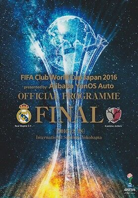 FIFA CLUB WORLD CUP FINAL 2016 KASHIMA ANTLERS v REAL MADRID OFFICIAL PROGRAMME