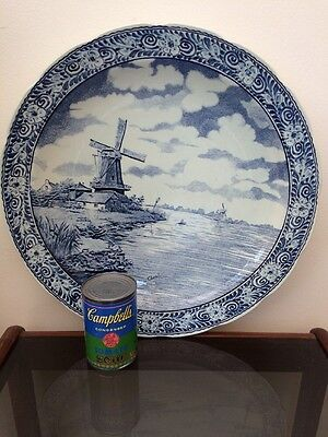 Boch Delfts Dutch Ceramic Charger Wall Plate 15.5 Inches Vintage Delftware