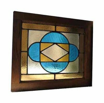 Antique 1907 American Stained Glass Church Window Original Frame - 18 x 21
