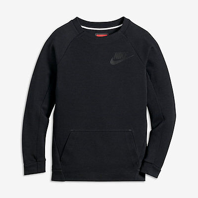 Kids Boys Nike Sportswear Tech Fleece Long Sleeve Crew 804731 010 Black Black