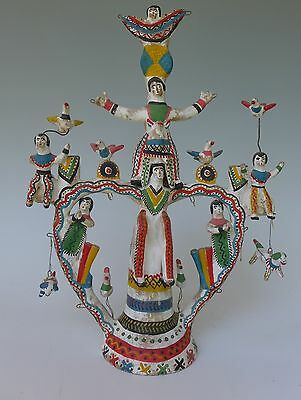 Vintage Mexican stacked acrobats tree of life Heron Martinez Acatlan Puebla 16""