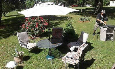 patio furniture  four chairs with umbrella