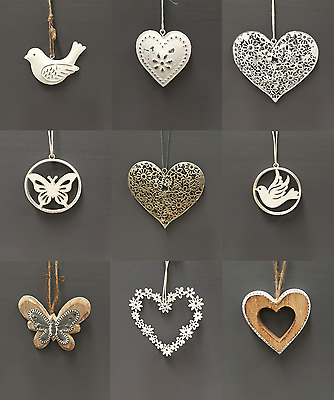 Shabby Chic Wedding Hanging Hearts Heart Home Christmas Tree Decoration Gift