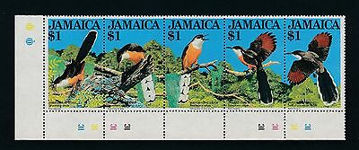 "Jamaica ""BIRDS"" #546 A-E, MNH STRIP OF FIVE $1 STAMPS W/SELVAGE; CV $10"