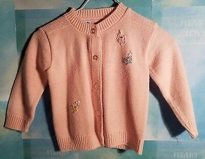 Vintage Blue Bird Girls' Pink Acrylic Sweater Size 2T-3T