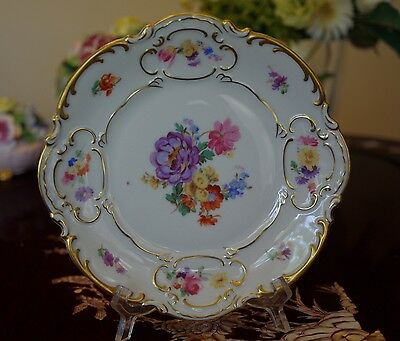 """Hutschenreuther Selb Plate Floral & Gold Gilt 8 1/8"""""""
