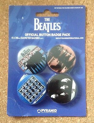 The Beatles Pinback Buttons Set Of 4 Official Button Badge Pack 2006